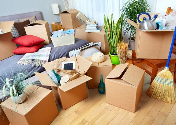 46412296 - moving boxes in new house. real estate concept.